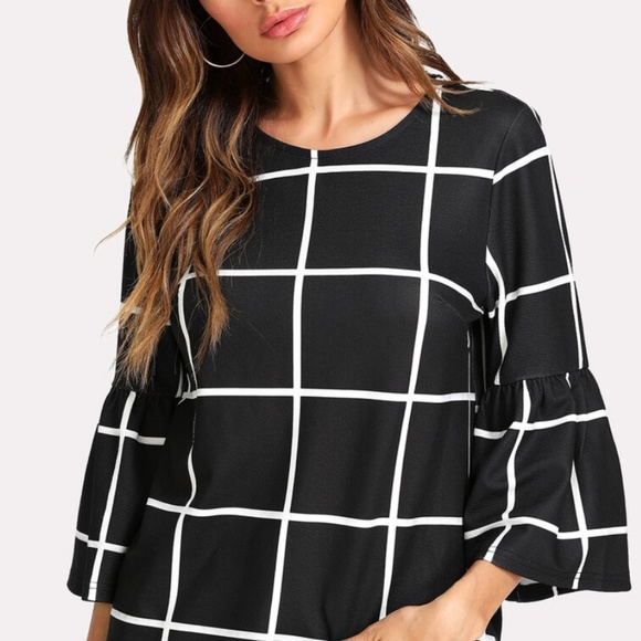 SHEIN Tops - Black and White Grid Top